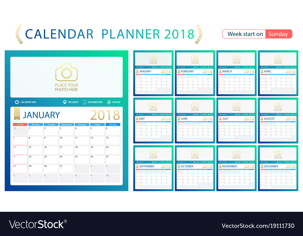 Calendar Planner Vector Free : English calendar planner for year week start vector image