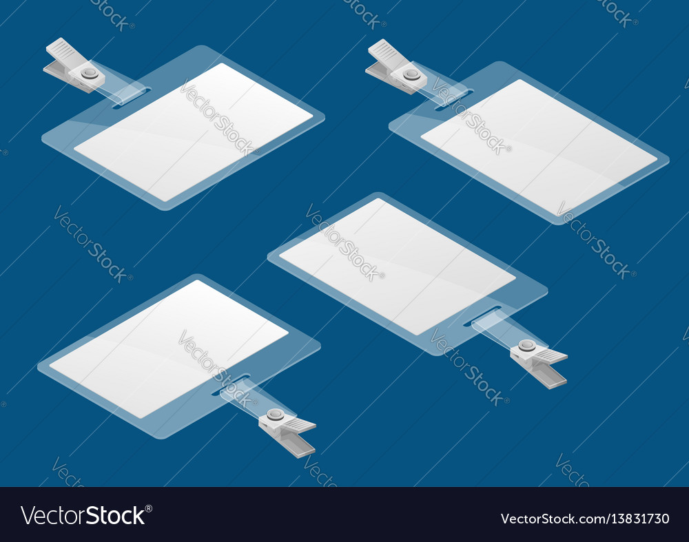 Set of isometric lanyard and badge template vector image