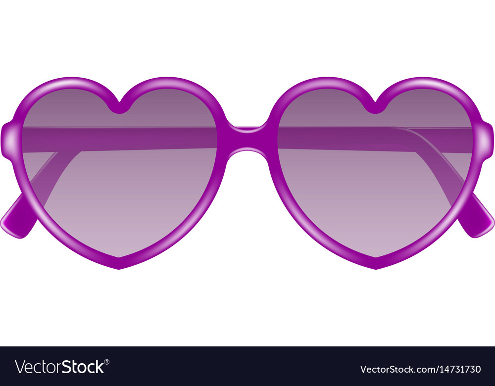 Sun glasses in shape of heart in purple design vector image