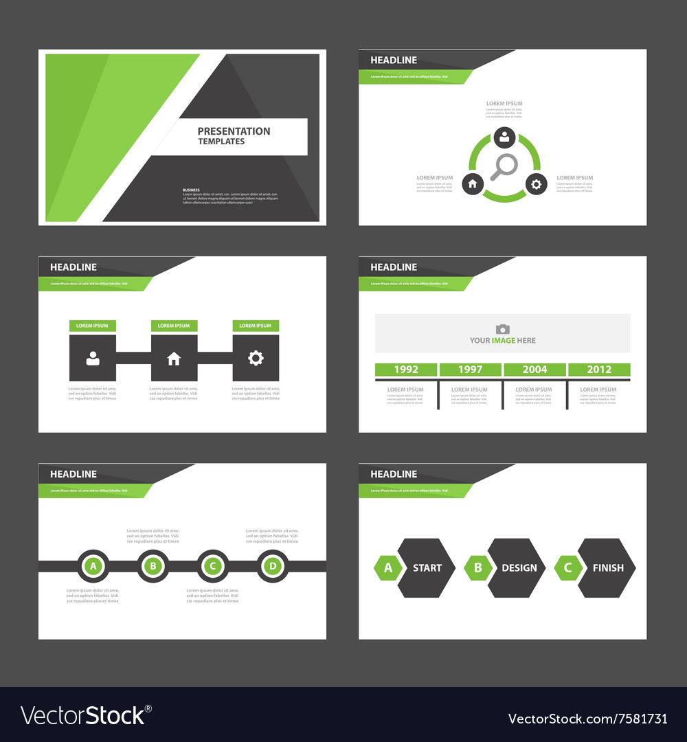 Green Black presentation templates Infographic set