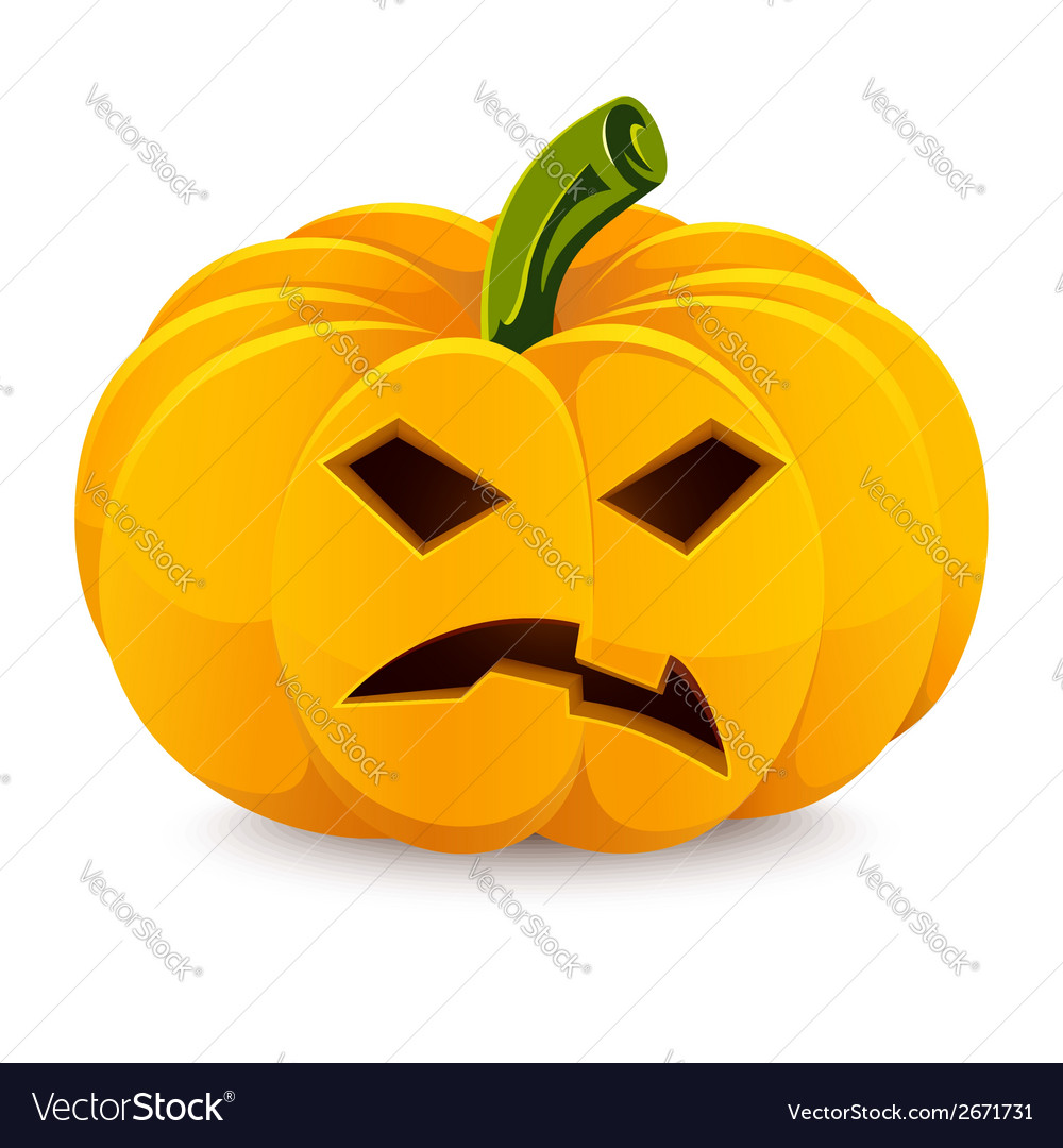 Halloween pumpkin Angry Jack-O-Lantern on a white vector image