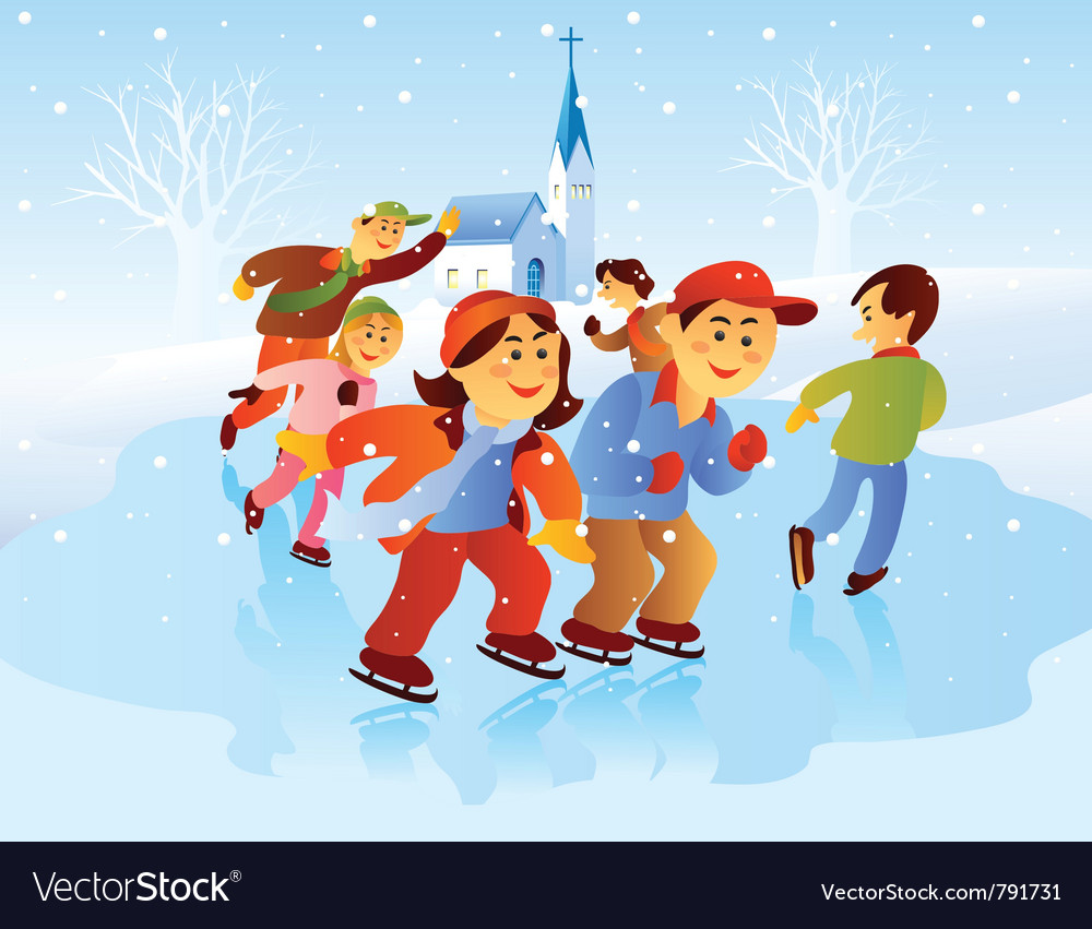 Kids playing ice skating vector image