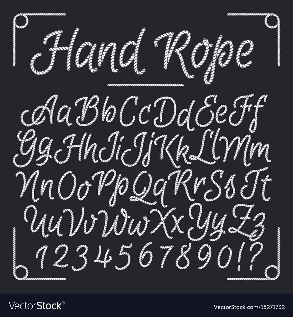 Nautical letters from hand rope thread vector image