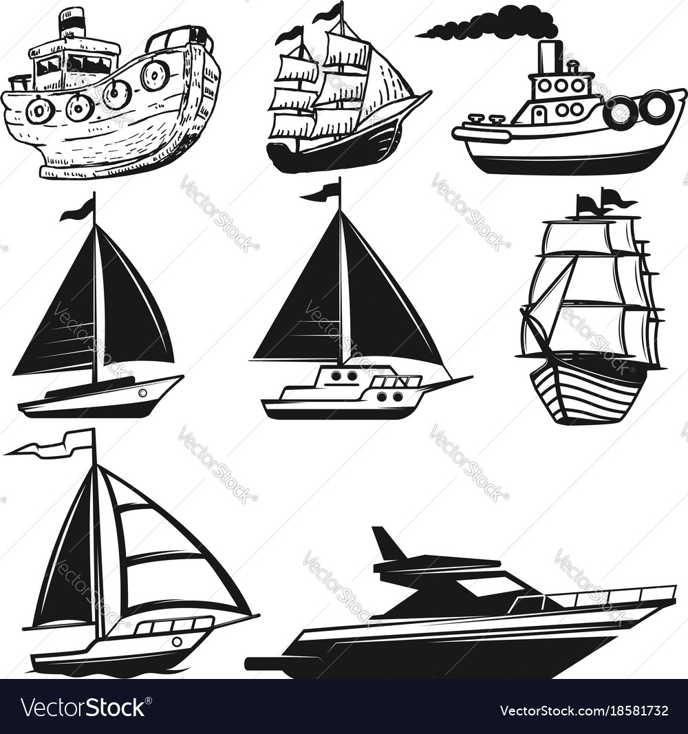 Set of boat yachts isolated on white background vector image