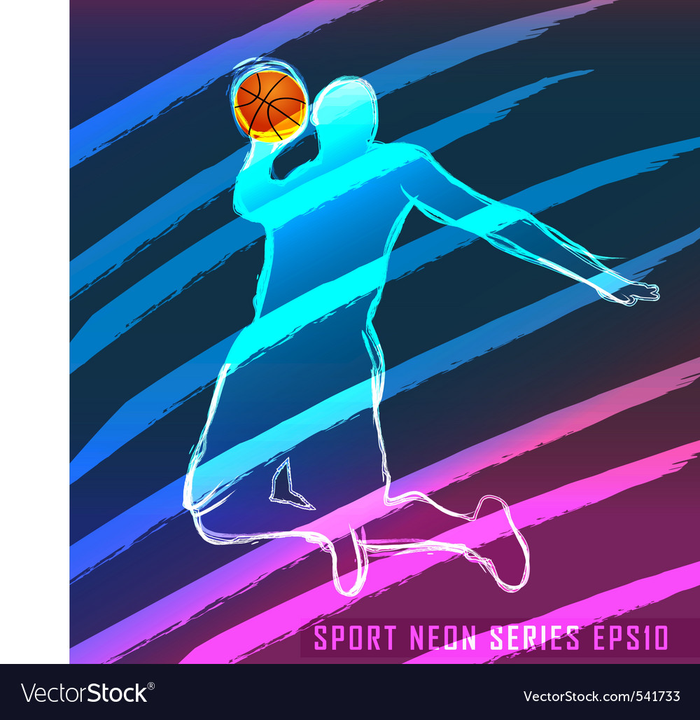 Sport neon series basketball vector image