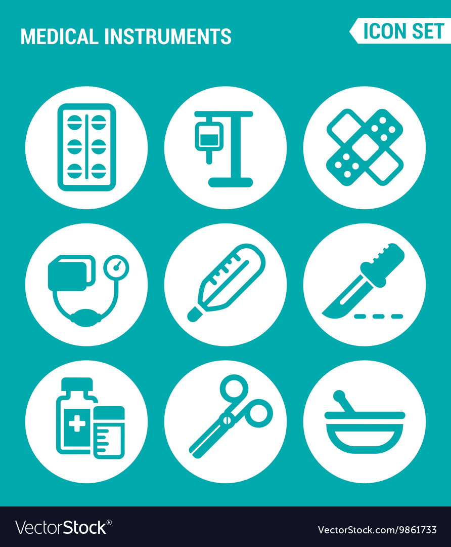 Set of round icons white Medical instruments vector image