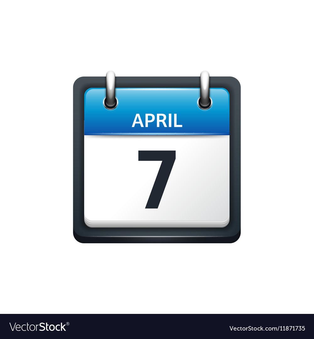 April 7 Calendar icon flat vector image