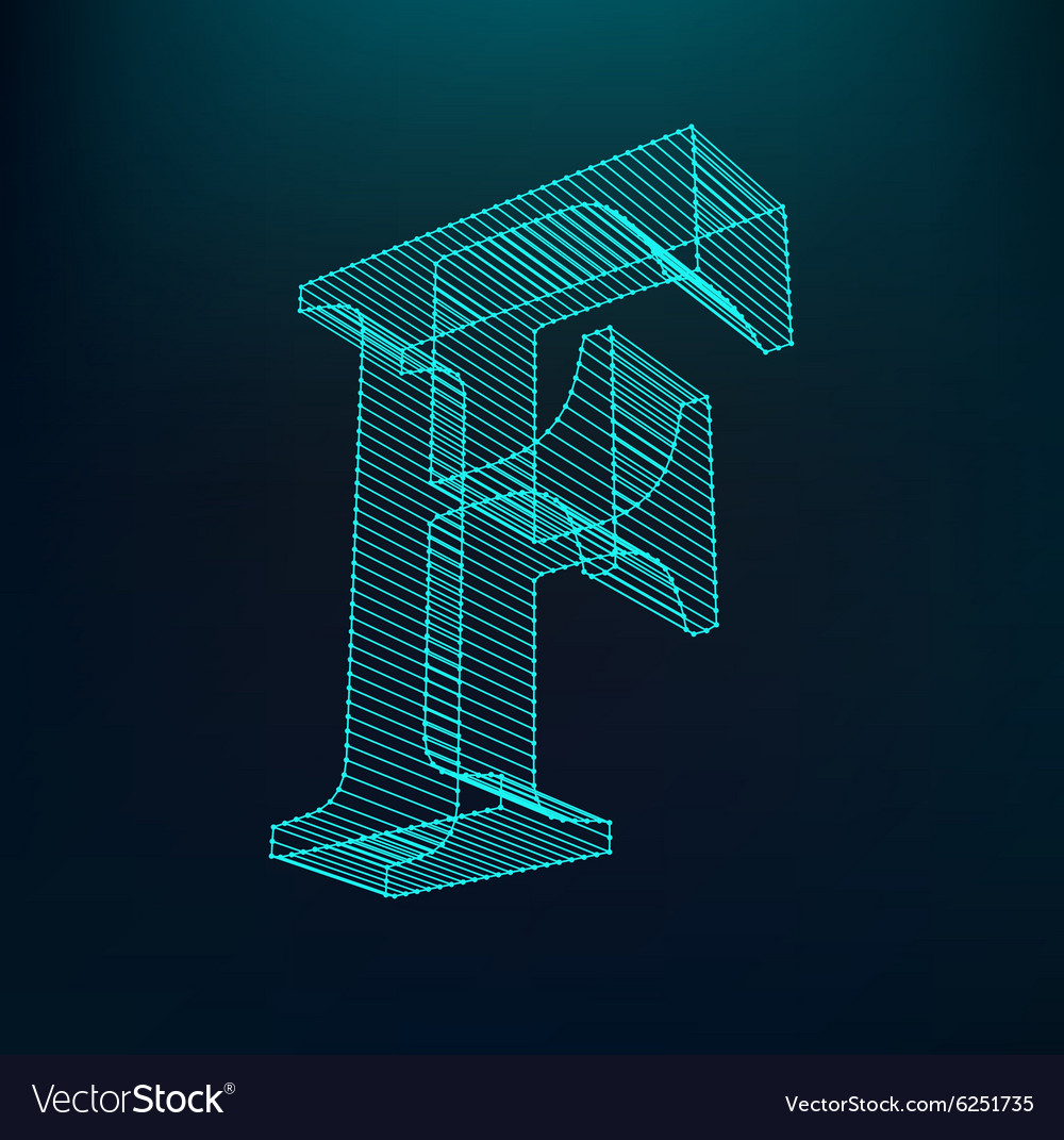 The letter F Polygonal letter Low poly model Vector Image
