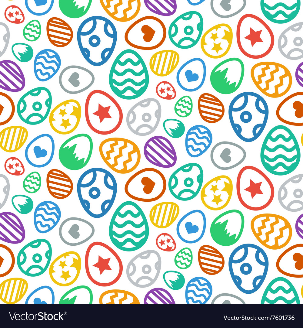 Seamless pattern of Easter eggs icon holiday vector image