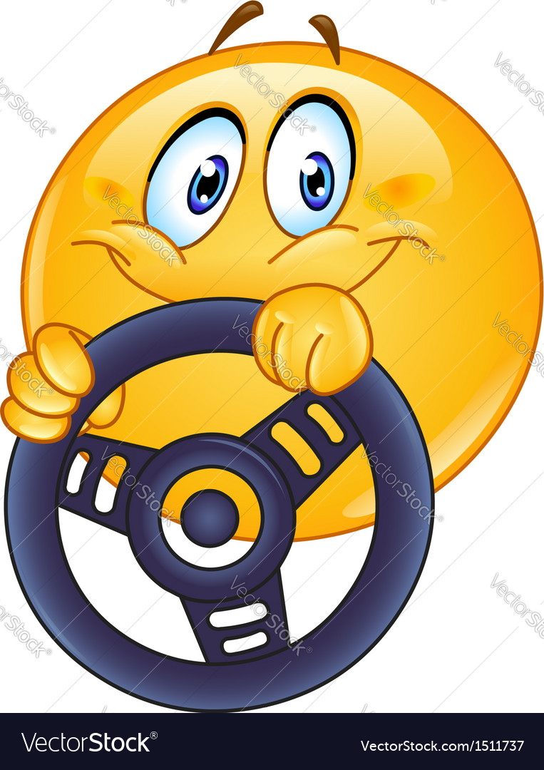 Driving emoticon Vector Image