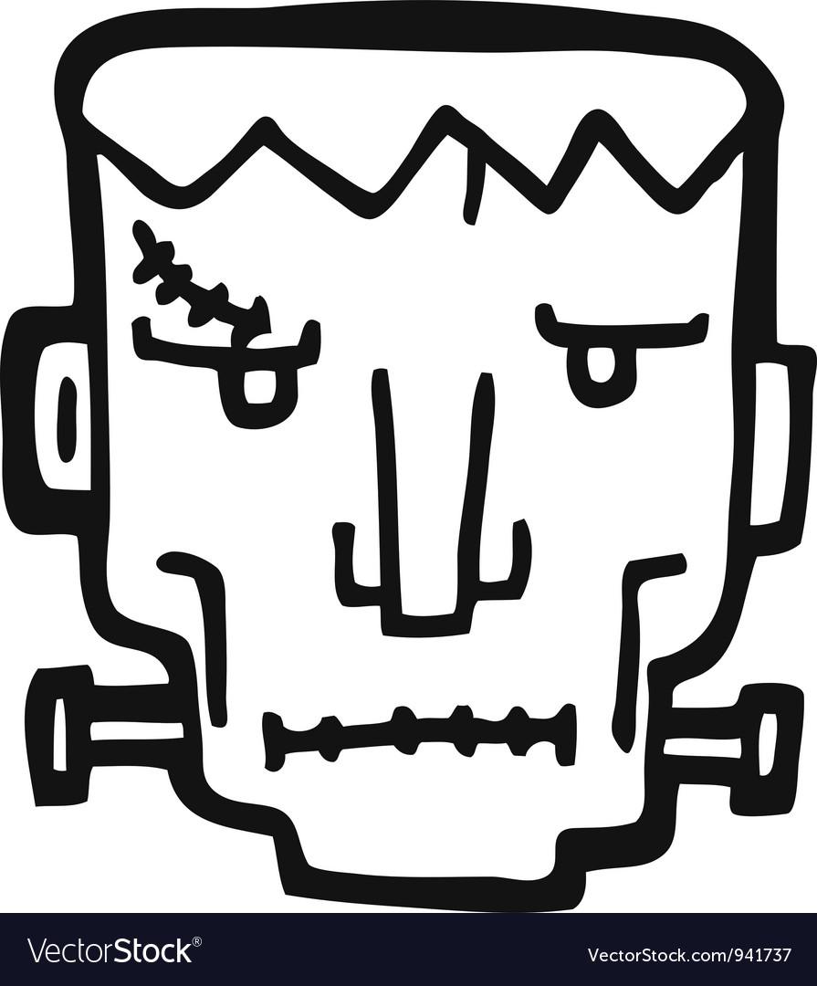 Frankenstain face doodle vector image