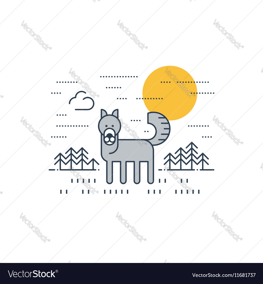 Grey wolf outdoor simple cartoon vector image
