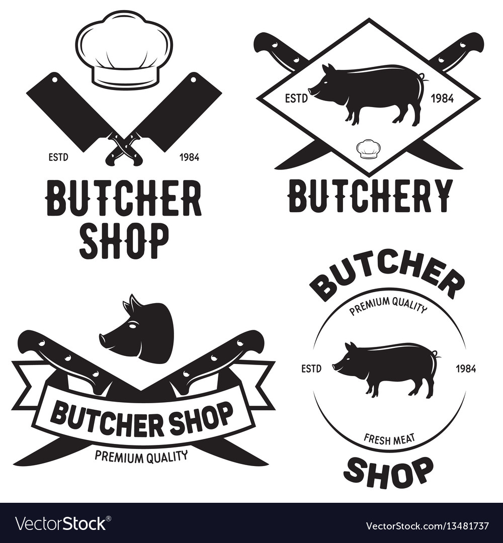Set of butchery logo templates butchery labels vector image