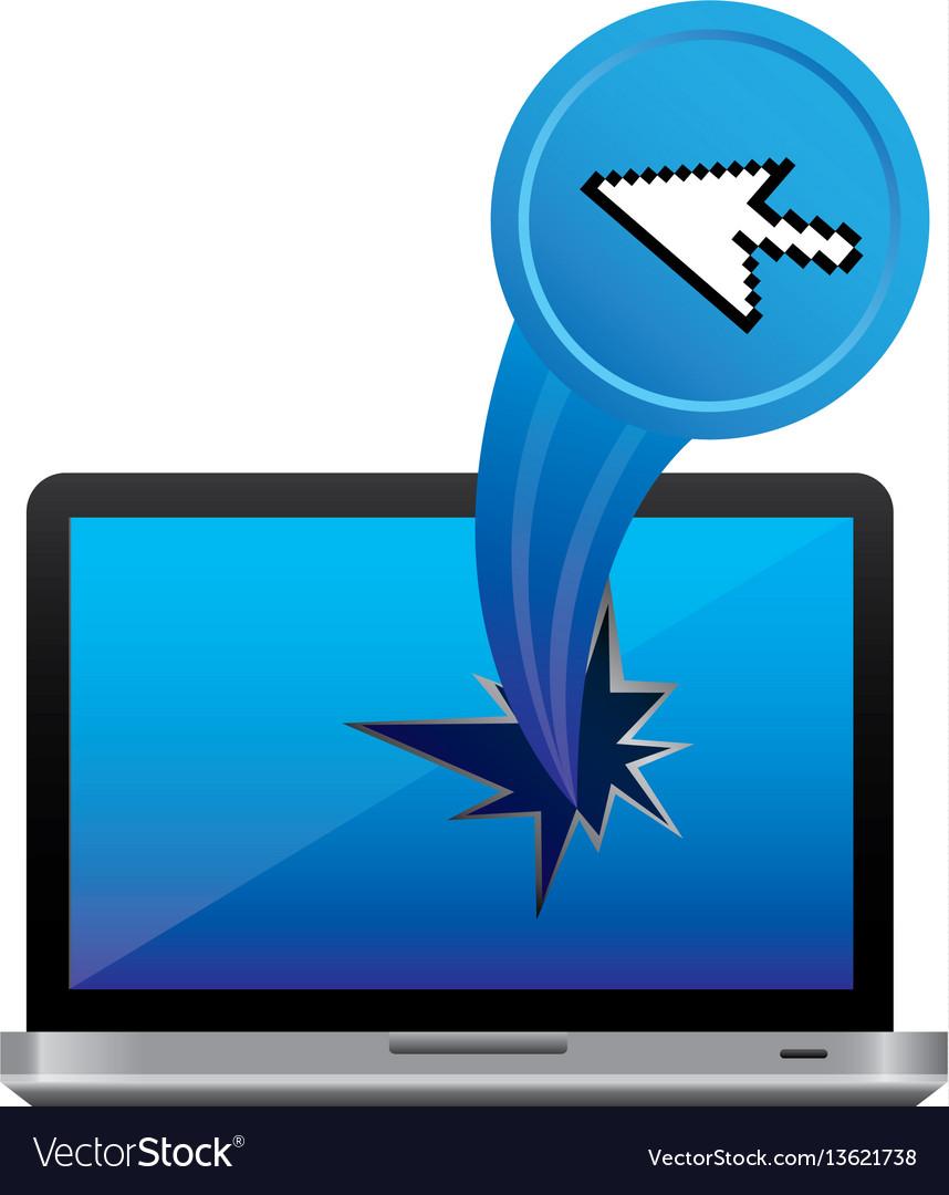 Blue computer arrow cursor with hole icon vector image