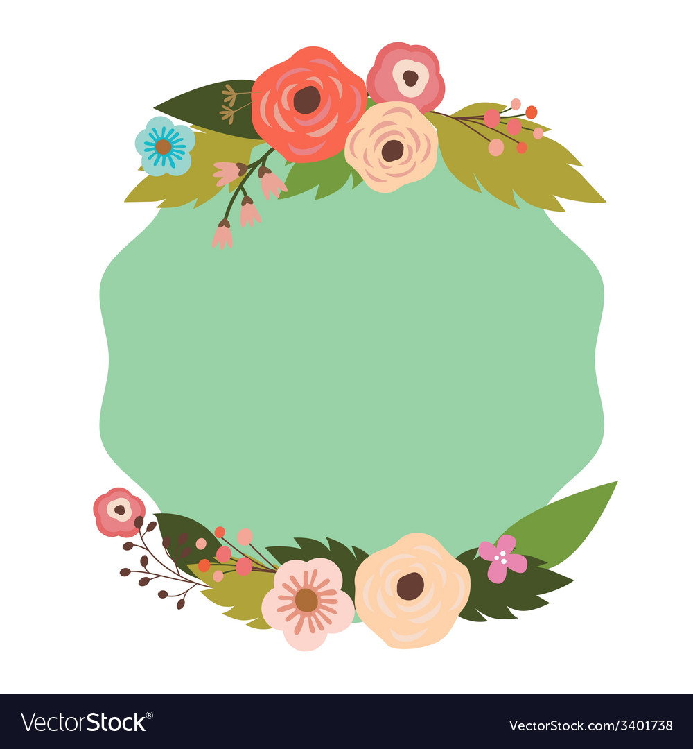 Elegant frame with flowers vector image