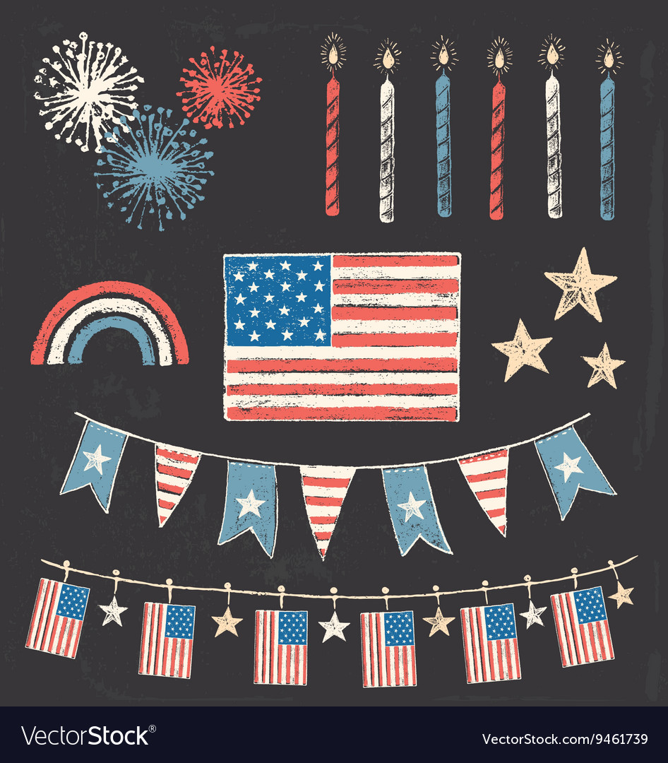USA Fourth Of July Patriotic Chalk Flag Party Set vector image