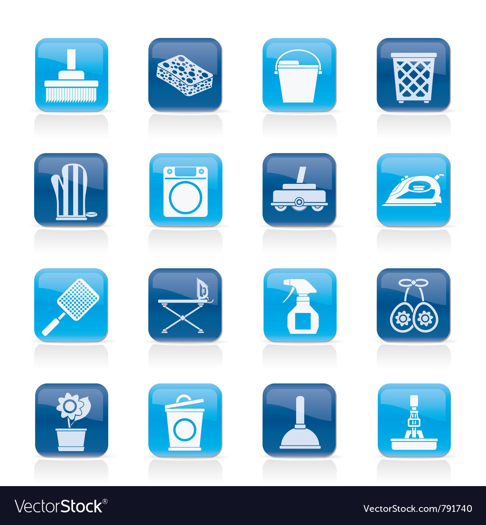 Household objects and tools icons vector image