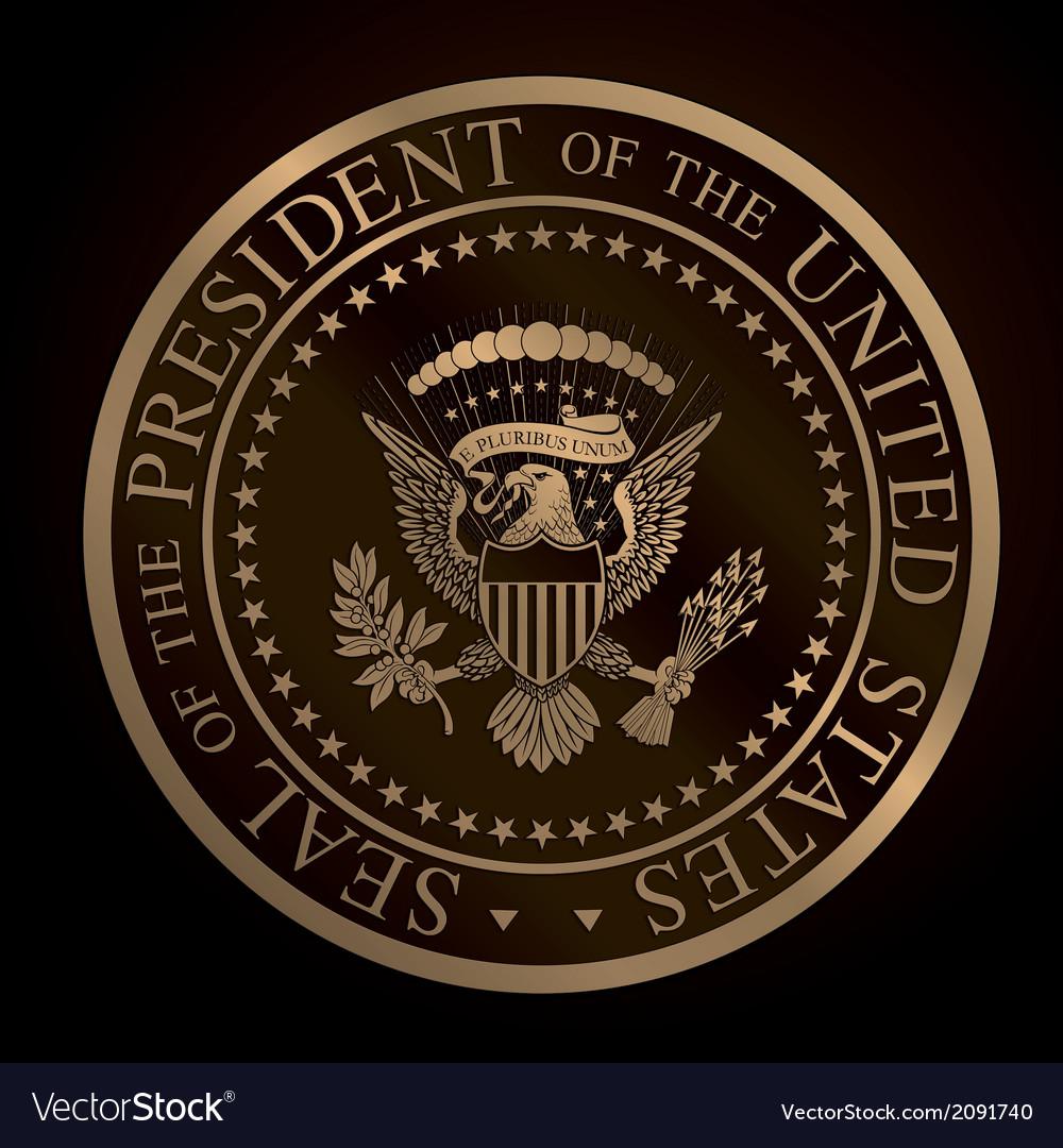 US Golden Presidential Seal Emboss vector image
