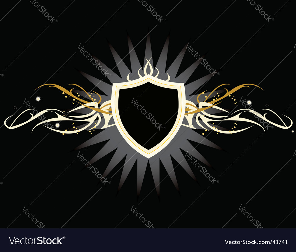 White yellow shield vector image