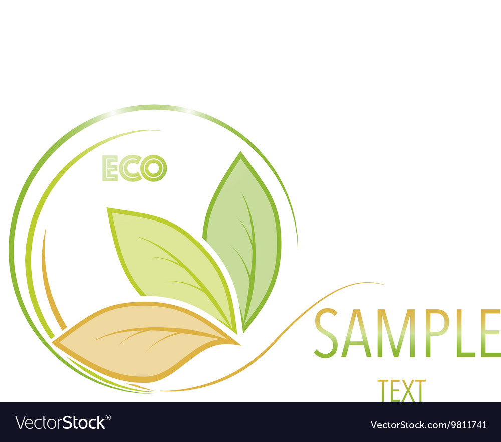 Green and orange leaves on white background vector image