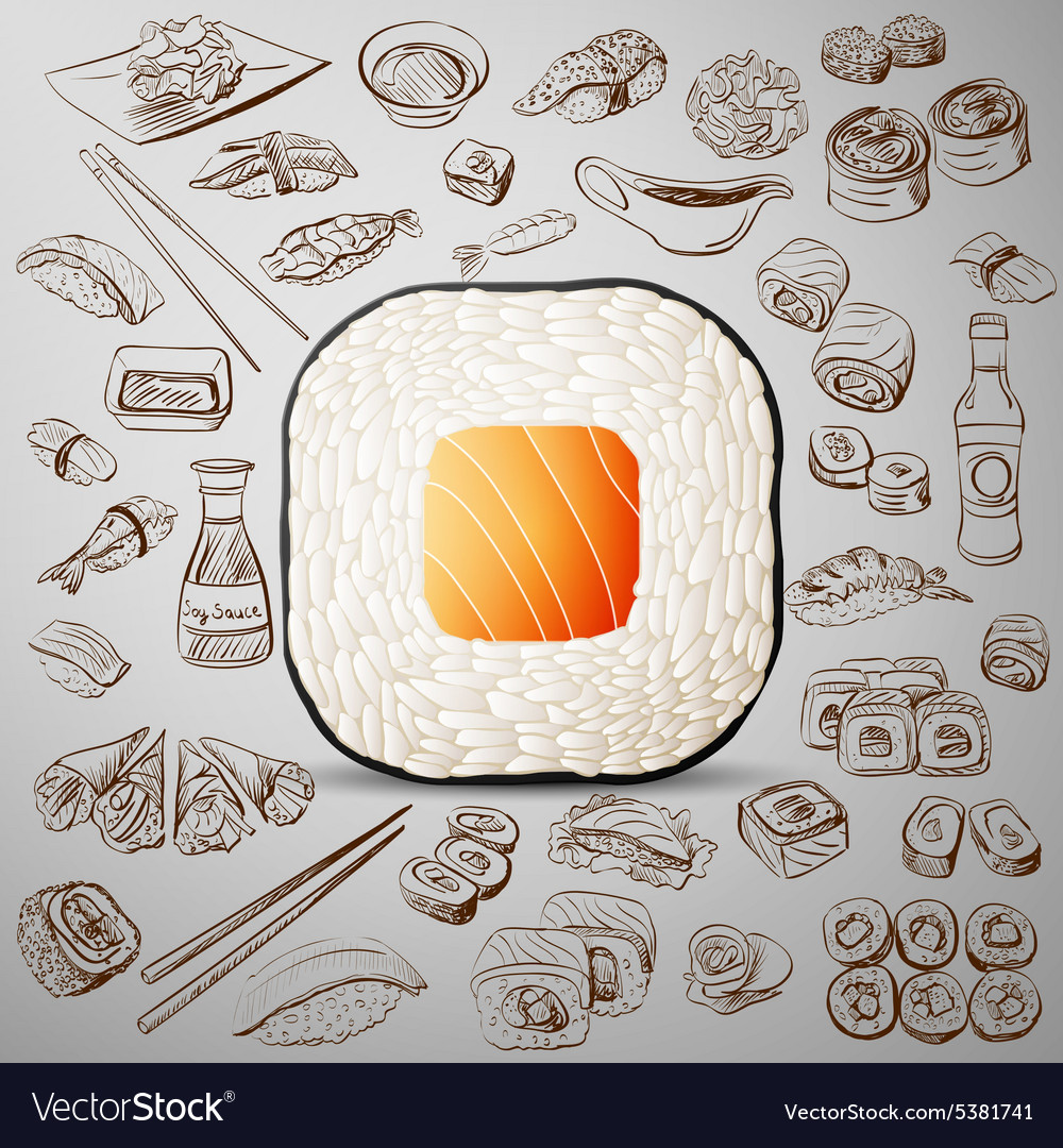 Sushi with hand-drawn elements vector image