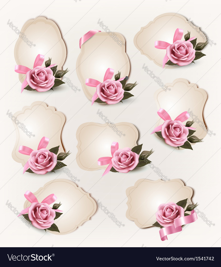 Collection of retro greeting cards with pink rose vector image kristyandbryce Image collections