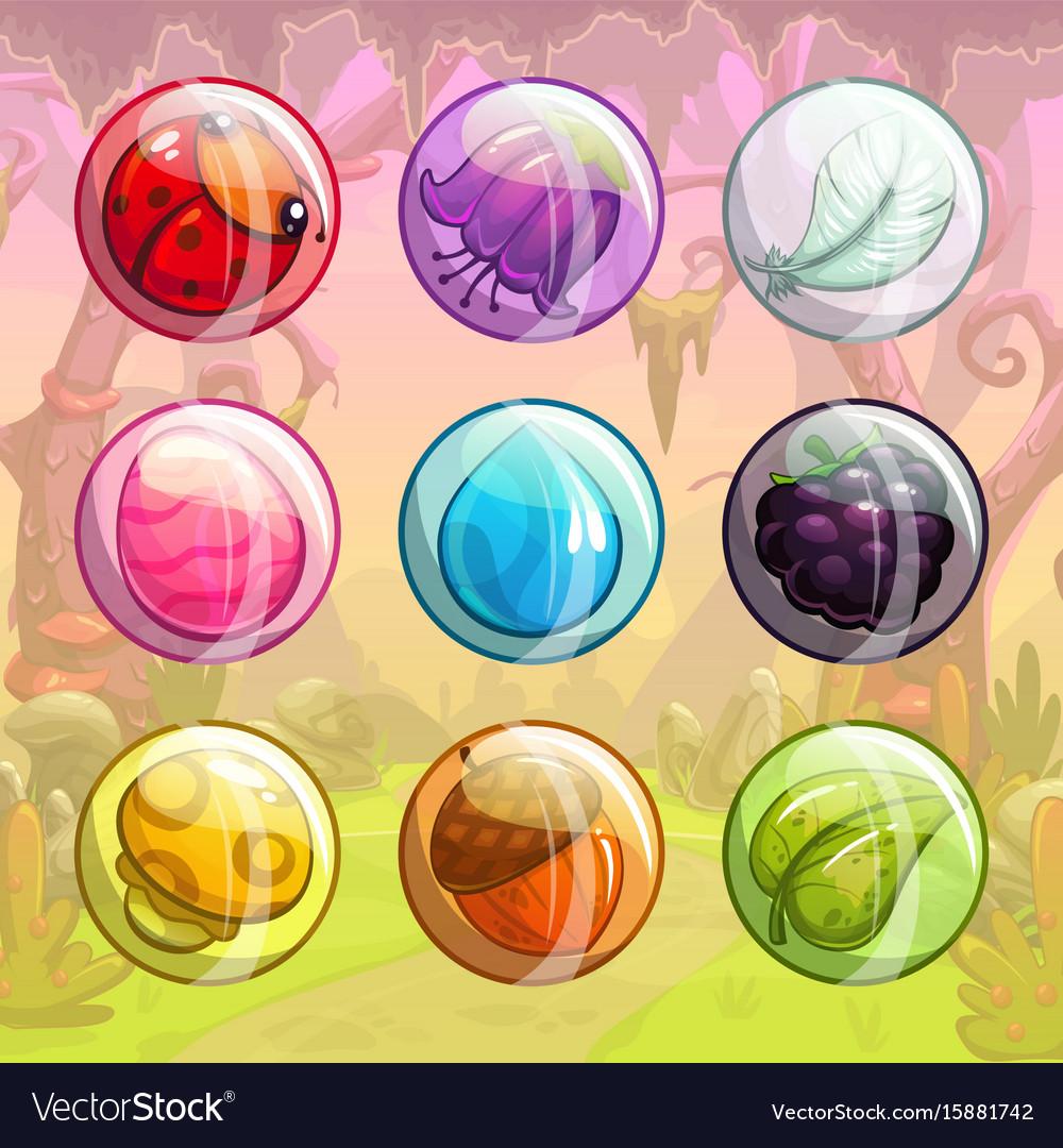 Funny assets for game design vector image