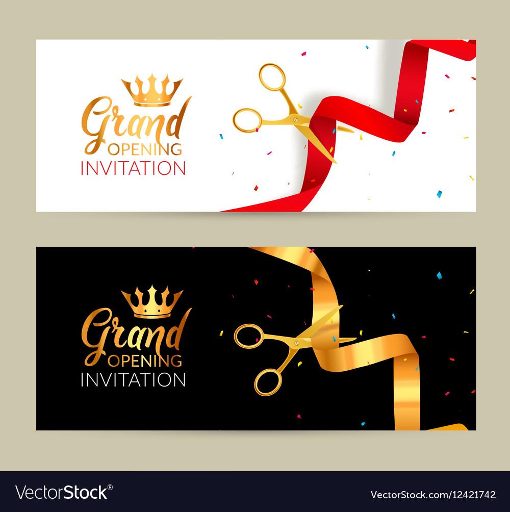 Grand opening invitation banner golden ribbon and vector image grand opening invitation banner golden ribbon and vector image stopboris Image collections