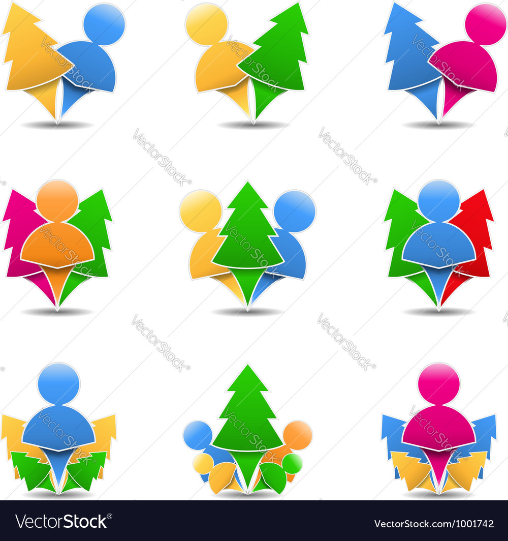 Icons of trees with humans vector image