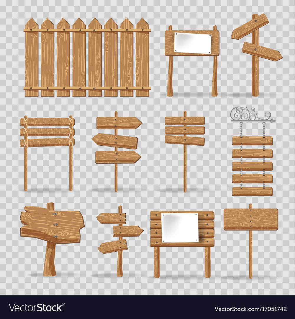 Wooden signs signages and direction arrows vector image