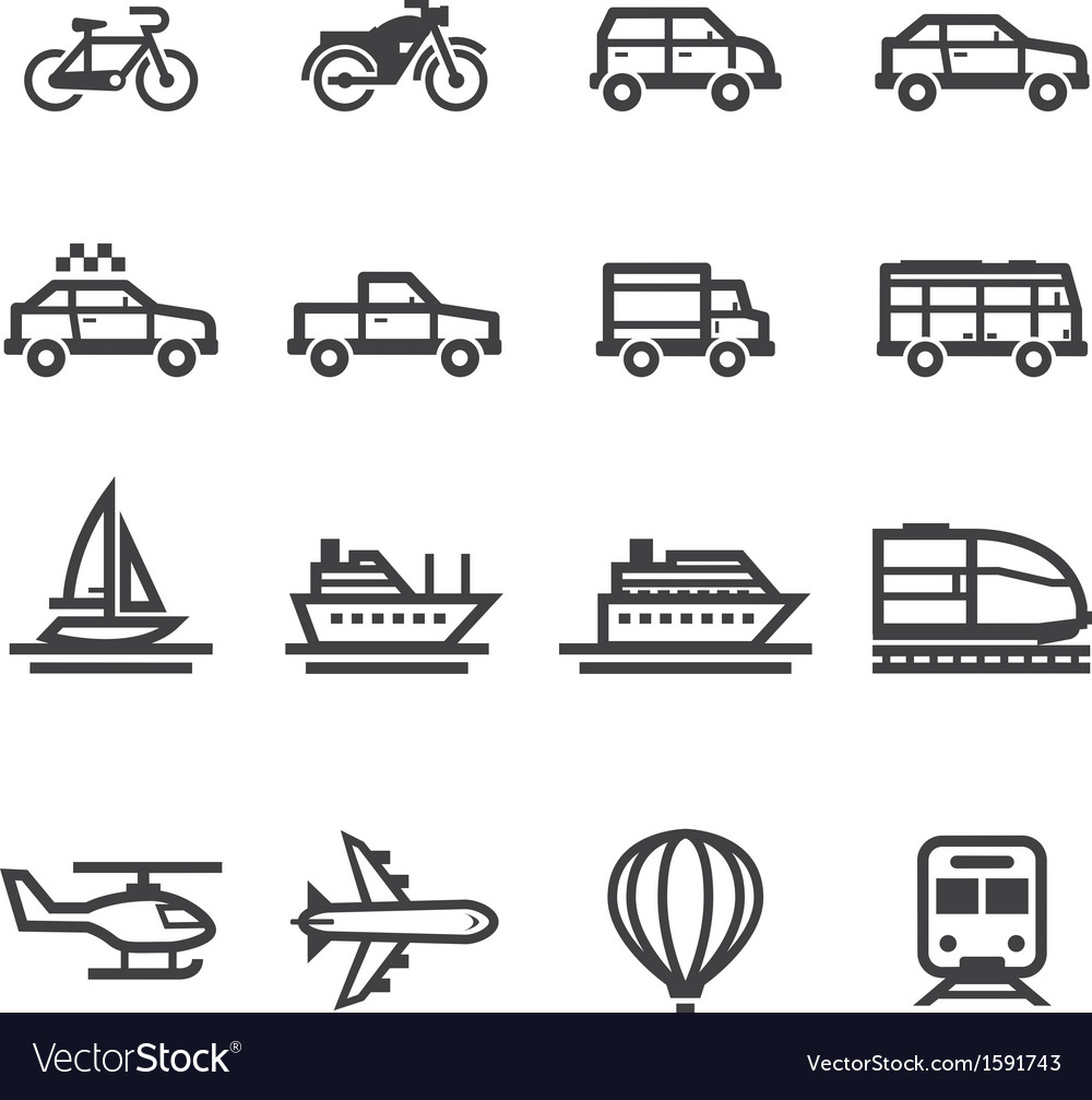 Transportation and Vehicles Icons vector image