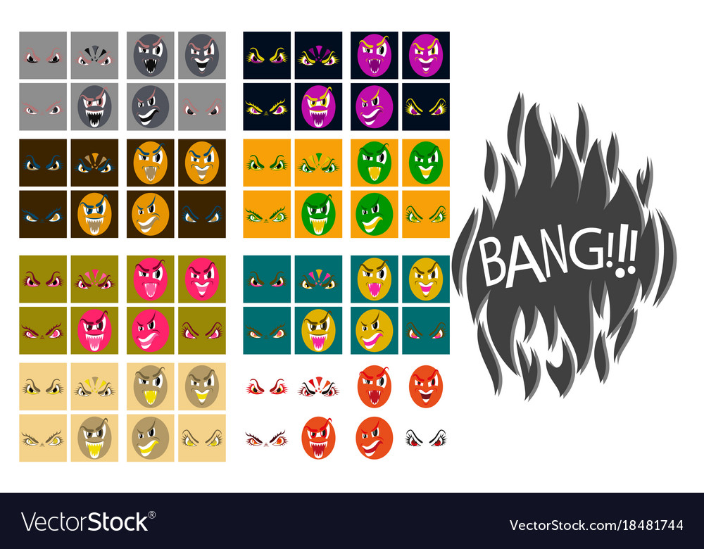 Assembly of flat icons on theme evil emotions