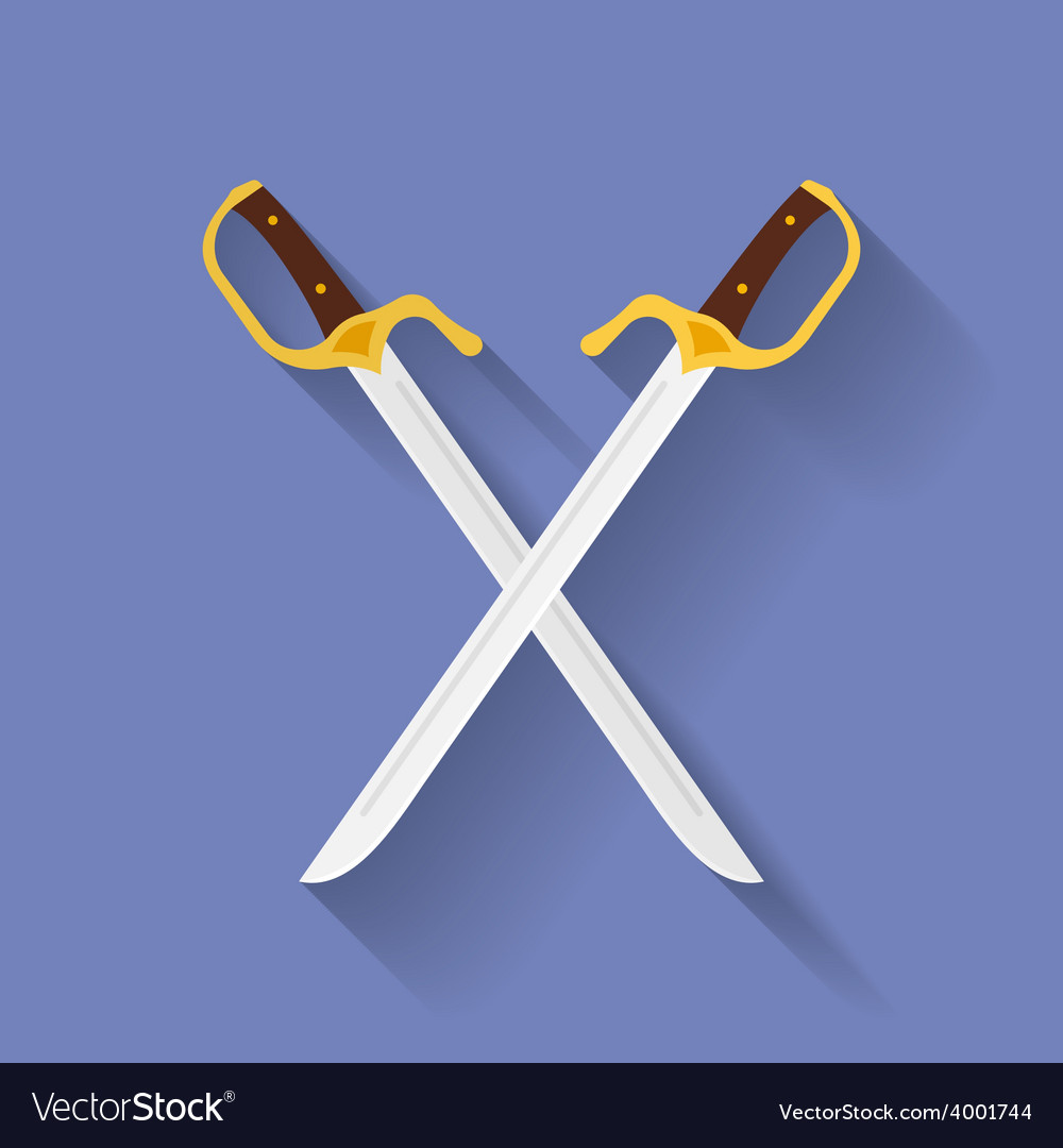 Icon of ancient swords Flat style vector image