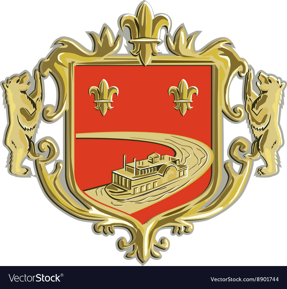 Steamboat Fleur De Lis Coat of Arms Retro vector image
