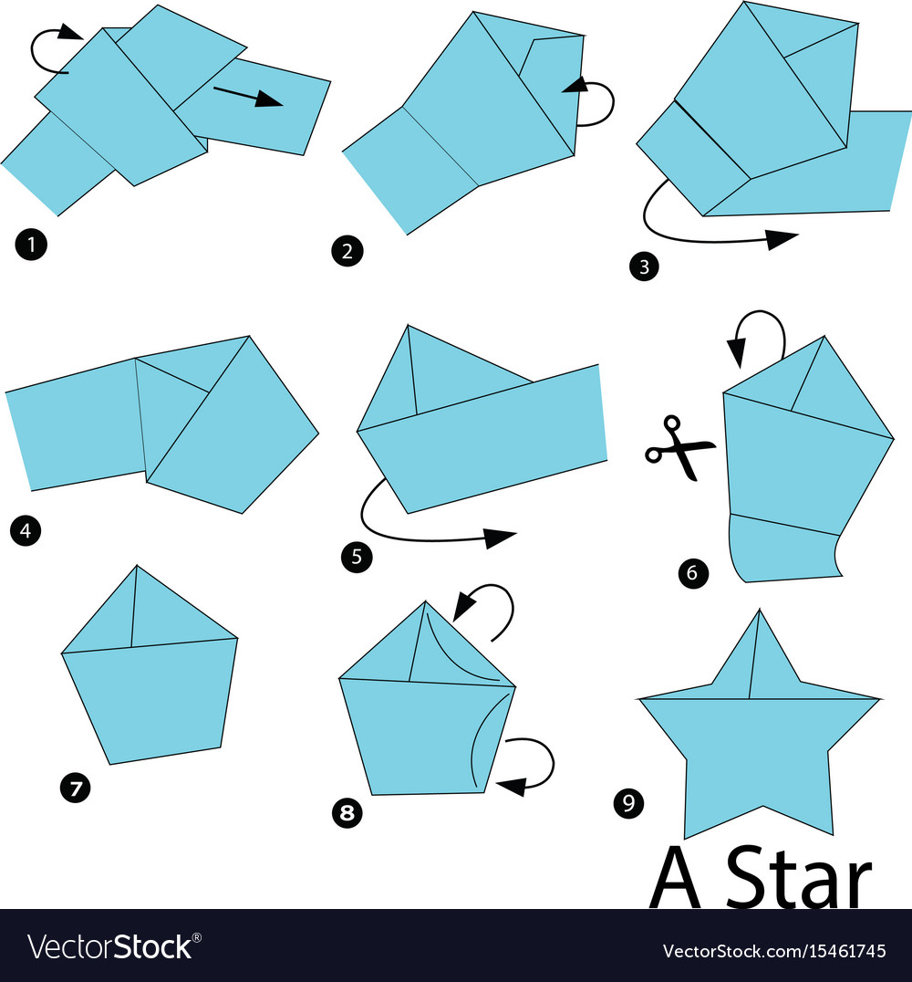 Step instructions how to make origami a star vector image