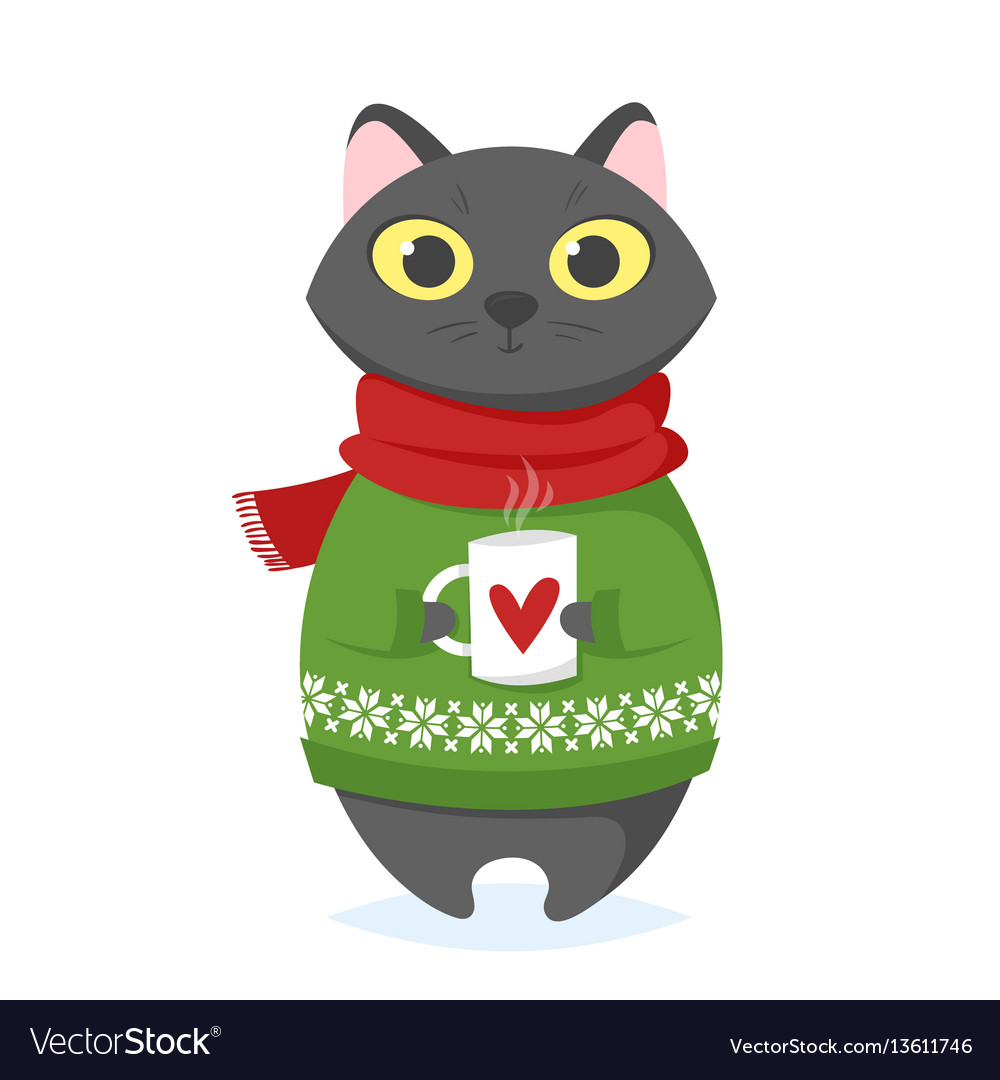 Cartoon style of christmas cat with cup vector image