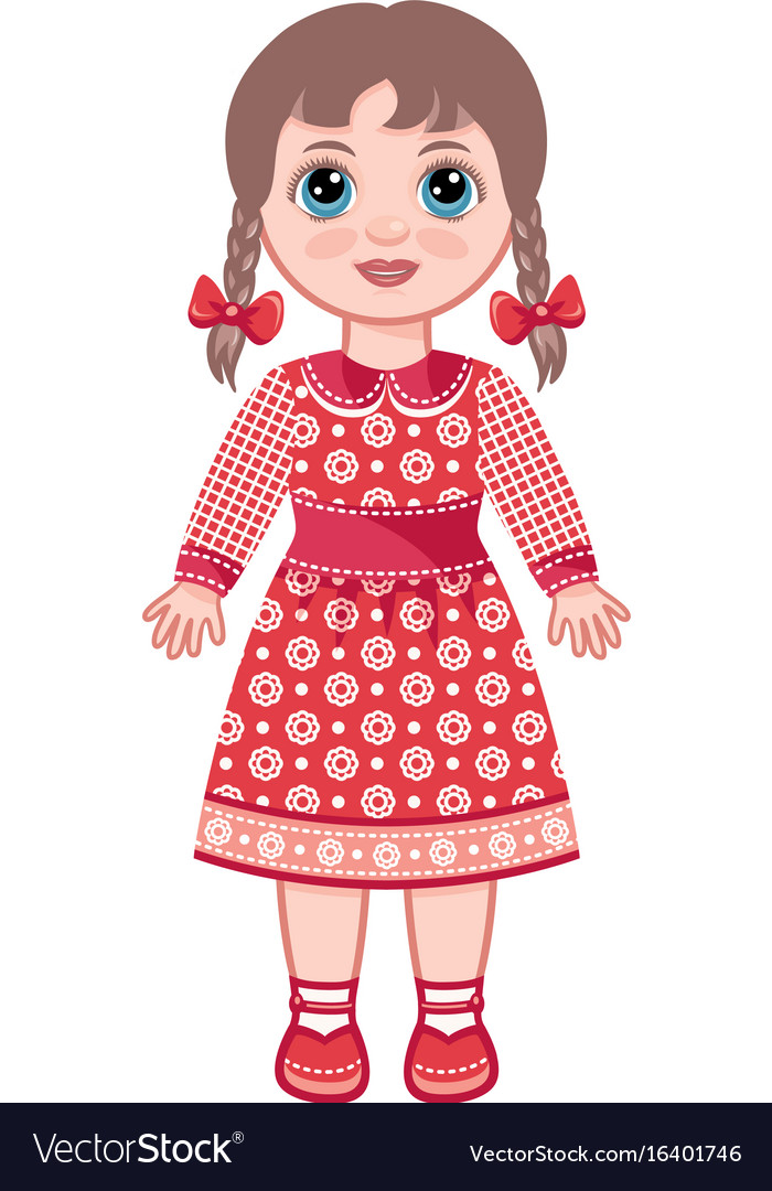 Doll childrens toy vector image