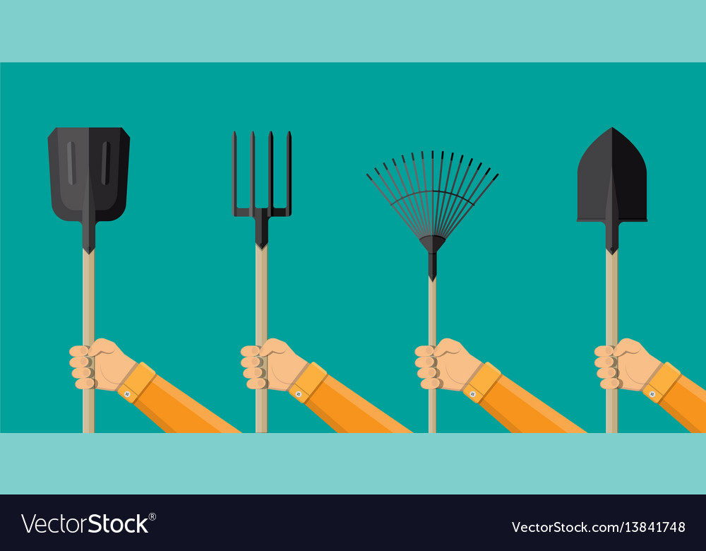 Hnds with gardening tools vector image