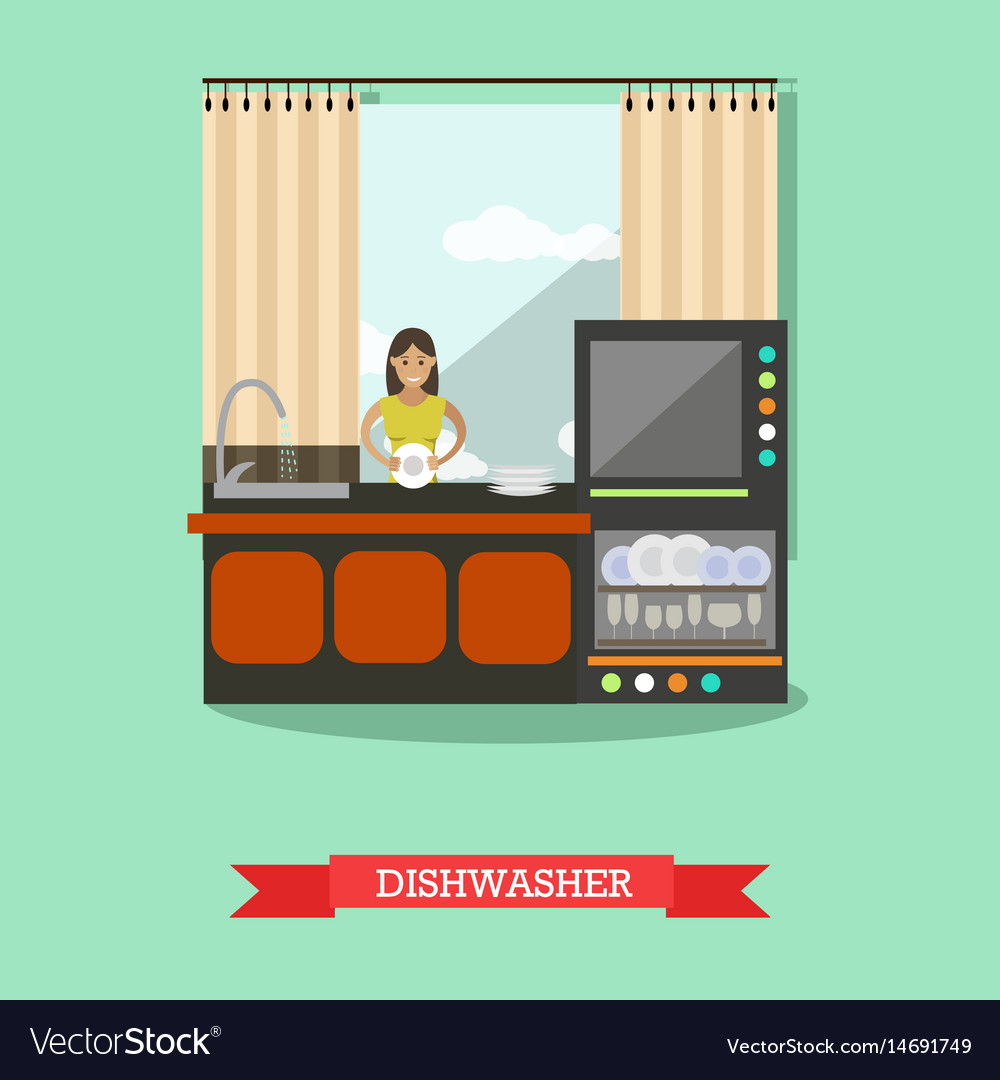Dishwasher in flat style vector image