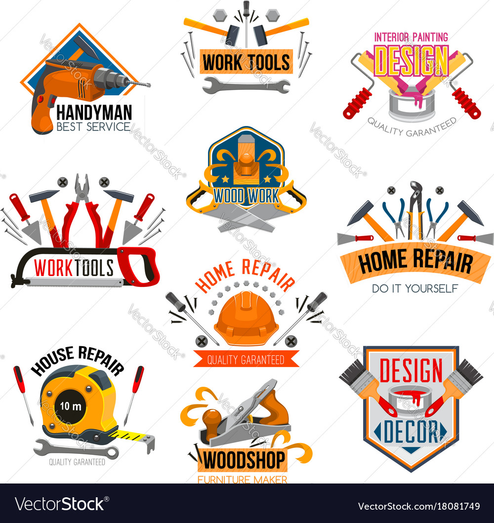 Repair tool construction instrument symbol set vector image