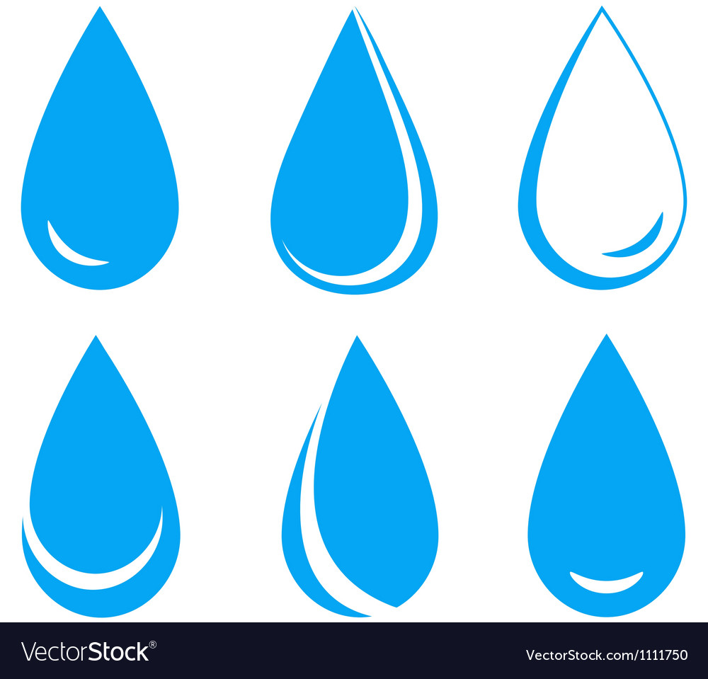 Set of blue water drops vector image
