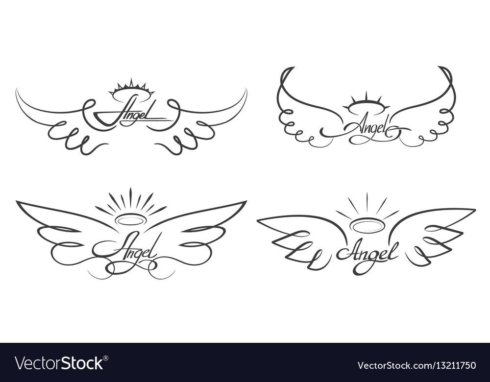 Angel wings drawing winged vector image