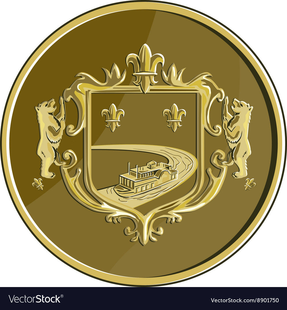 Steamboat Fleur De Lis Coat of Arms Medal Retro vector image