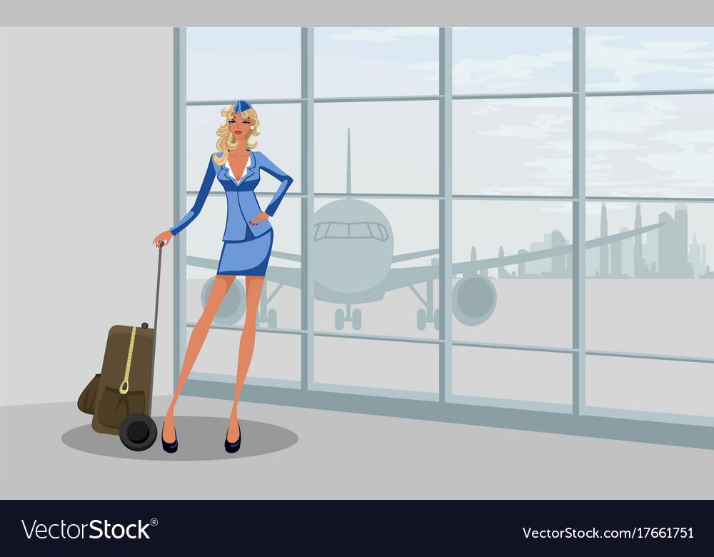 Stewardess at the airport vector image
