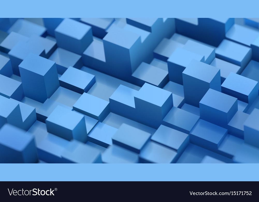 Abstract background of defocused cubes vector image