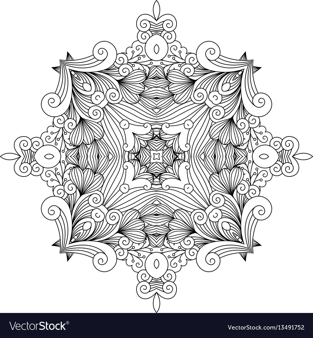 Floral zentangle decorative element vector image