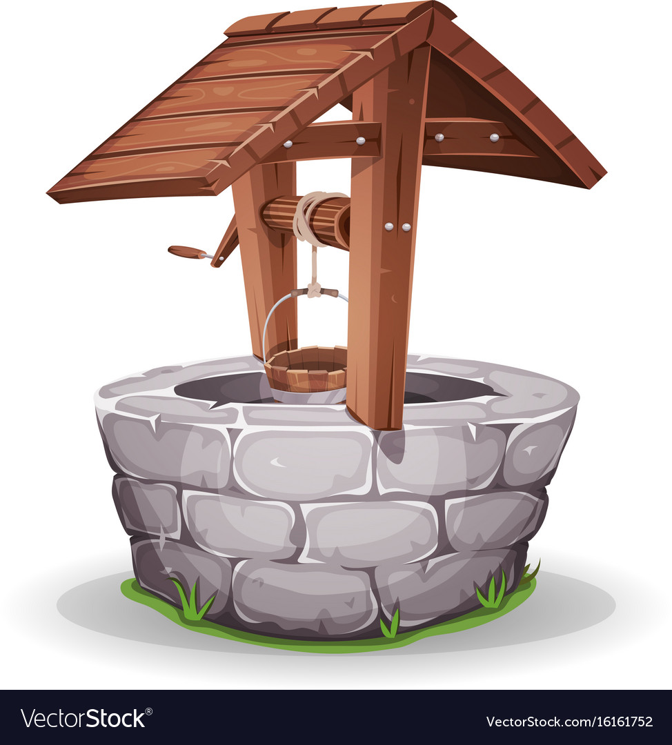Stone and wood water well vector image