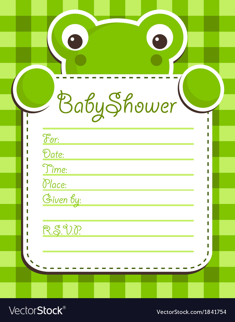 Baby Shower Frog Invitation Card Royalty Free Vector Image