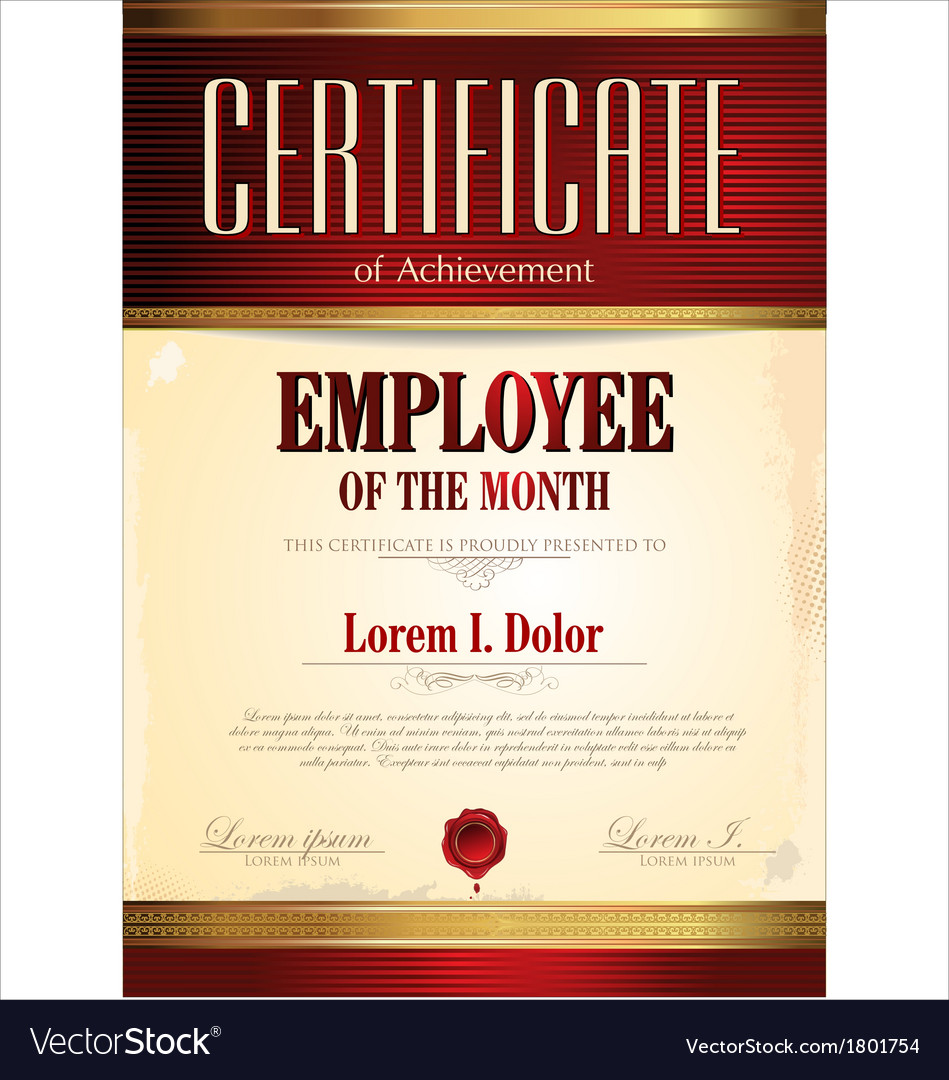 Certificate template employee of the month vector image certificate template employee of the month vector image pronofoot35fo Image collections