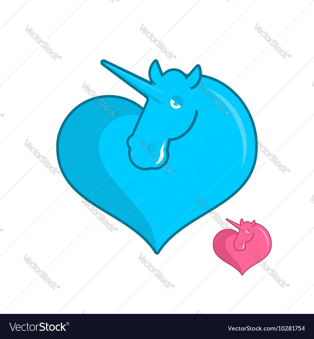 Unicorn heart logo LGBT symbol community Sign of vector image